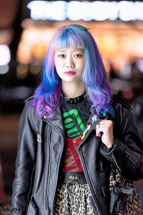 Purple Blue Pastel Hair in Harajuku