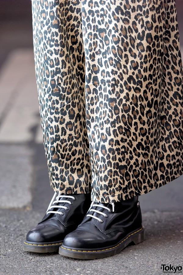 Leopard Print Maxi Skirt & Dr. Martens