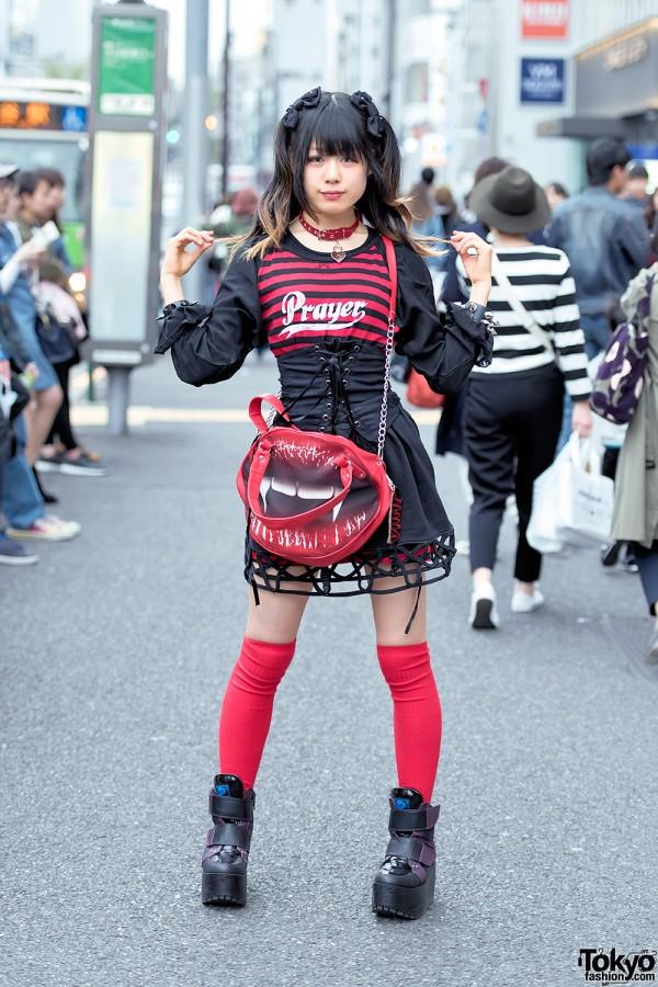 Harajuku Goth Girl in HellcatPunks, Corset, Kreepsville 666 & Yosuke