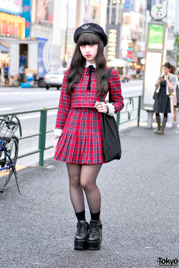 Harajuku Girl In Plaid Honey Cinnamon Dress Amp Platform Shoes