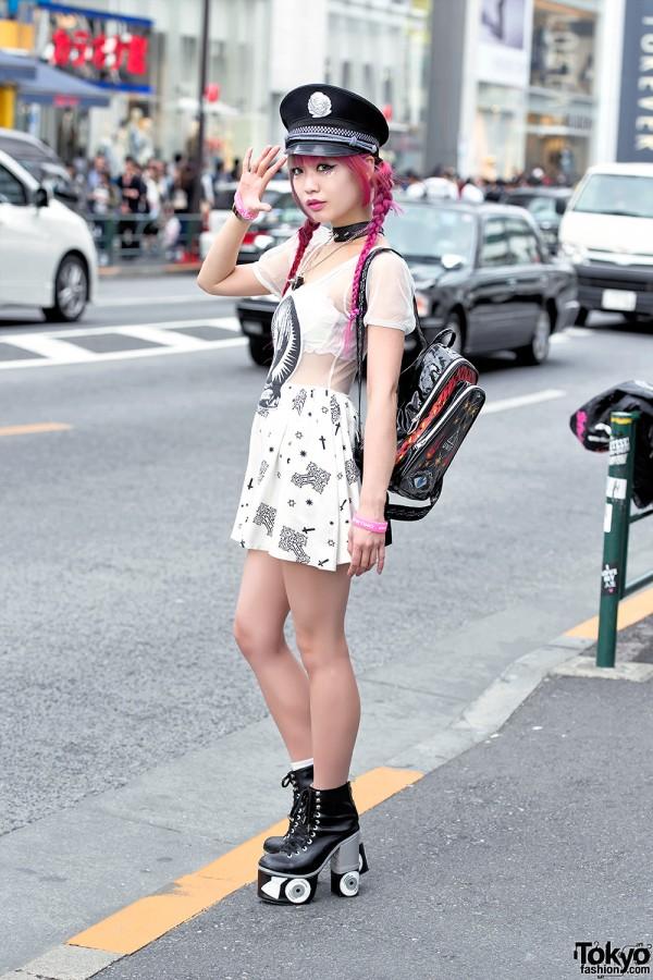 Pink Hair Glad News Sheer Dress Sretsis Roller Skate
