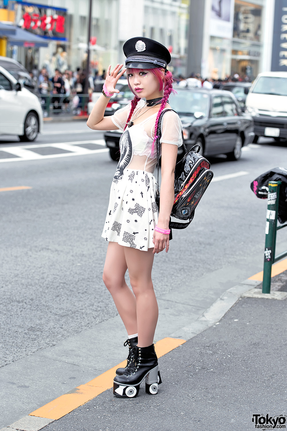 pink hair glad news sheer dress sretsis roller skate
