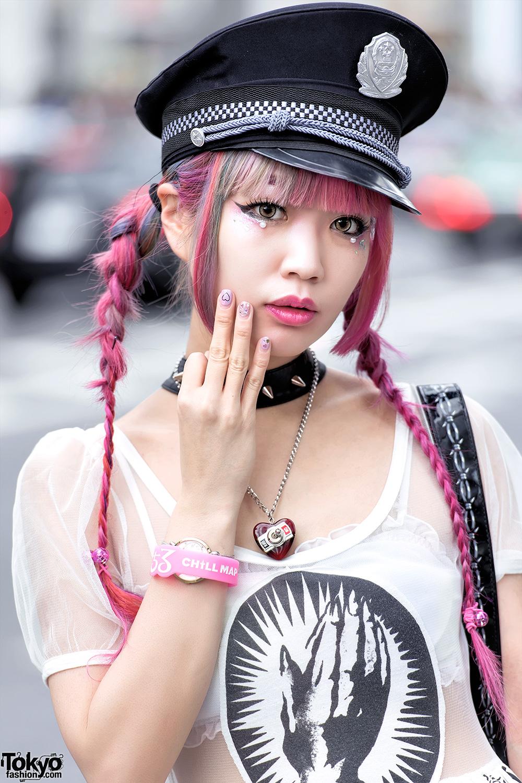 Roller Skate Sneakers >> Pink Hair, Glad News Sheer Dress, Sretsis Roller Skate Heels & UNIF Backpack