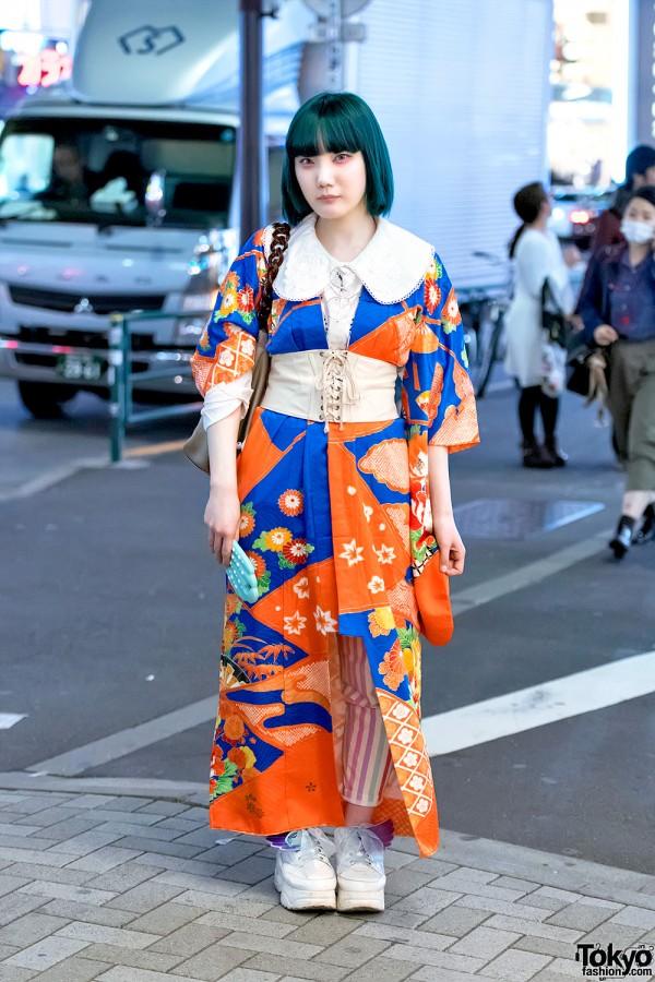 Kimono Jacket, Corset, Blue Hair & Winged Shoes in Harajuku