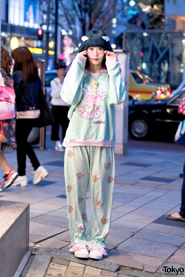 Milklim Sweatshirt, Menhera-chan Backpack, Pajama Pants & Wings in Harajuku