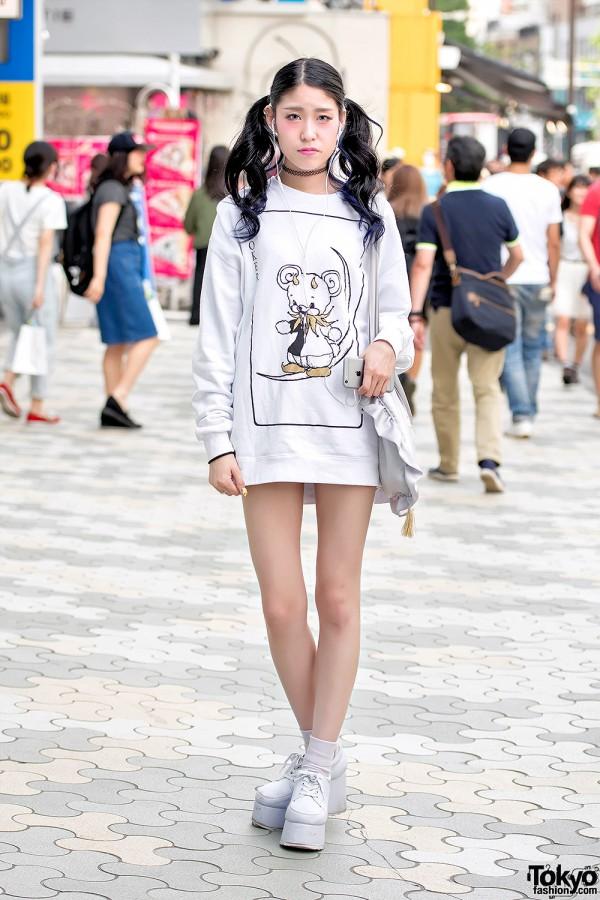 Harajuku Girl in Twin Tails w/ Monomania Sweatshirt Dress & Ank Rouge Bag