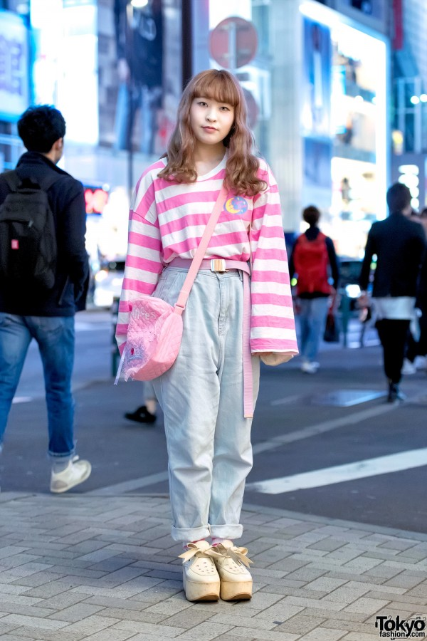 Pink Striped Neon Moon Top x Tokyo Bopper