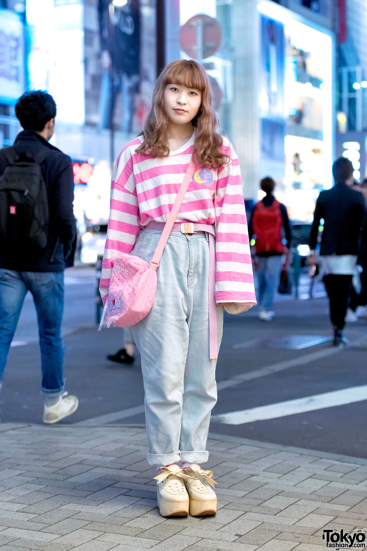 Pink Harajuku Style W Neon Moon Fancy Surprise Spank Tokyo Bopper