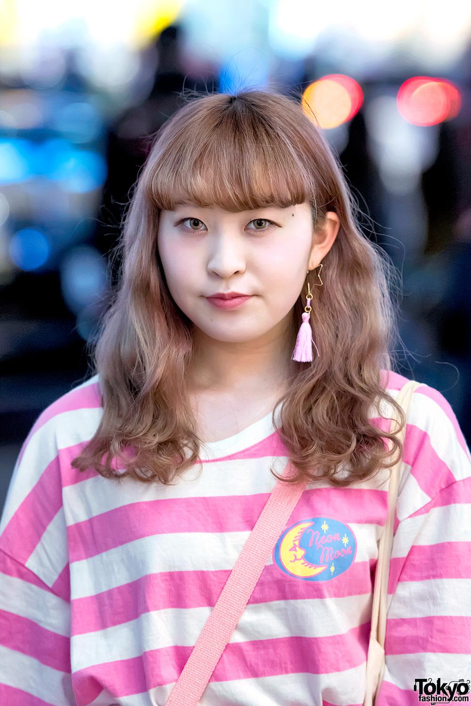 Pink Harajuku Style W Neon Moon Fancy Surprise Spank