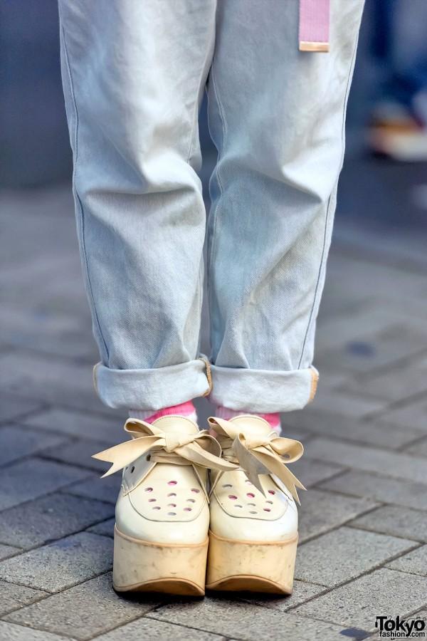 Tokyo Bopper Ribbon Lace Shoes x Vintage Denim
