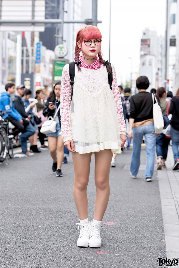 Harajuku Girl in Glasses w/ Pink Twin Braids, Lace Top & High Top Sneakers