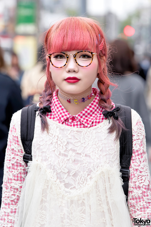 Harajuku Girl In Glasses W/ Pink Twin Braids, Lace Top