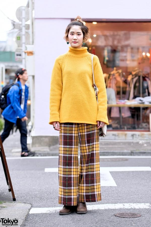 Vintage Knit Sweater, Plaid Wide Leg Pants & Egypt Tote Bag in Harajuku