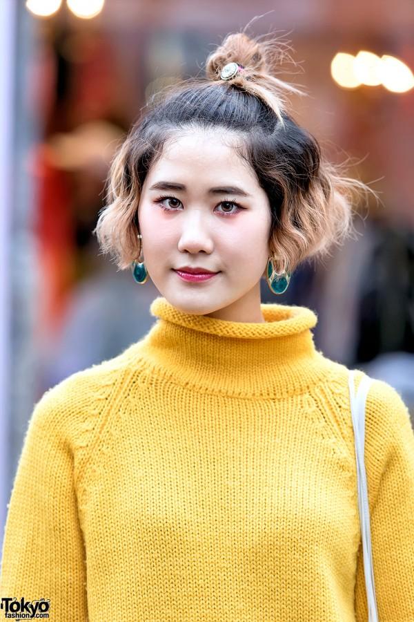 Vintage Yellow Knit Sweater in Harajuku
