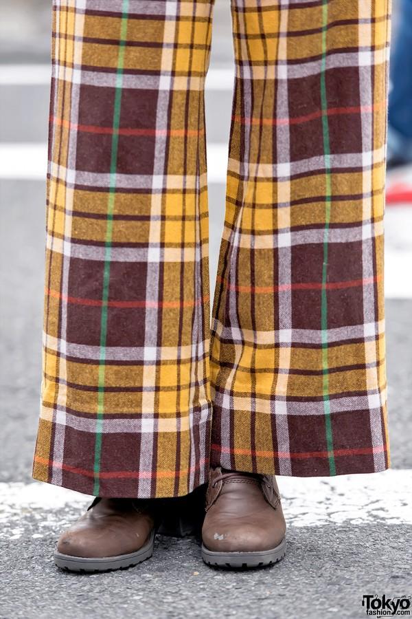 Vintage Plaid Wide Leg Pants in Harajuku