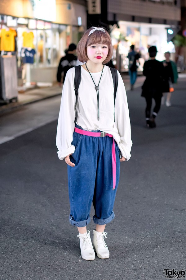 Pastel Hair, Pink Belt, Bolo Tie & Spinns Fashion on Cat Street in Harajuku