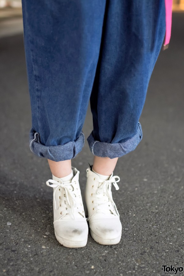 Rolled Denim Jeans & High Top Sneakers