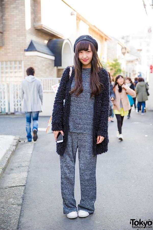 Harajuku Girl in Matching Knit Top & Knit Pants, Kangol Beret & Adidas Stan Smith Sneakers