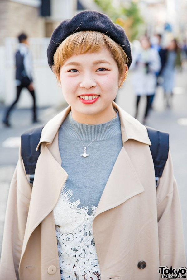 Harajuku Girl in Earth Music & Ecology Trench Coat