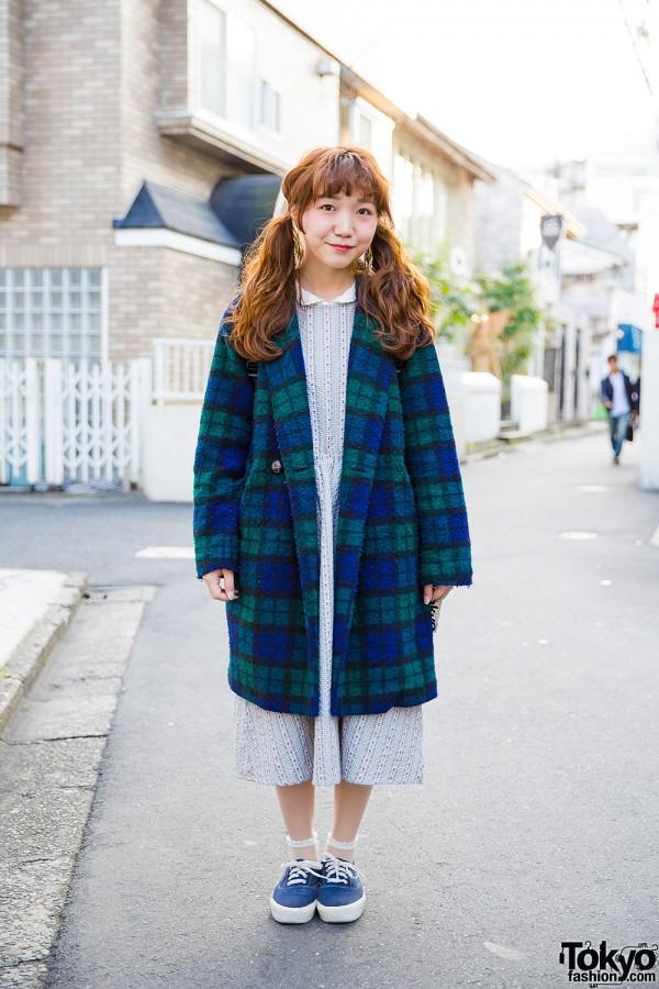 Harajuku Girl w/ Twin Tails in Midi Dress, Plaid Coat, Backpack & Sneakers