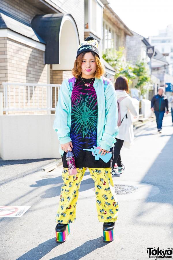 Sponge Bob Fashion & Unicorn Backpack w/ Panama Boy, Spiral Toy, Kinji Harajuku & YRU