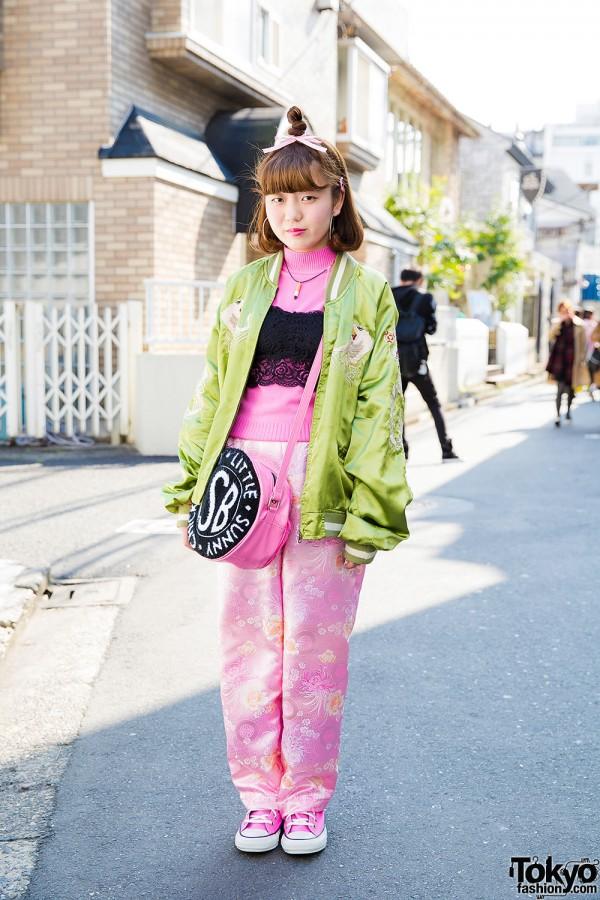 Harajuku Girl in Souvenir Jacket, Kobinai Pants, Camisole & Little Sunny Bite Bag