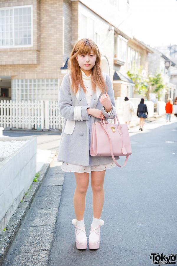Harajuku Girl in Ank Rouge Coat, Cherry Print Dress, Samantha Thavasa Bag & PomPom Platforms