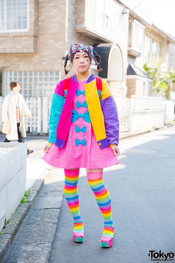 Harajuku Decora Girl in Colorful Bows w/ ACDC Rag, 6%DOKIDOKI, Mikansei & Spinns