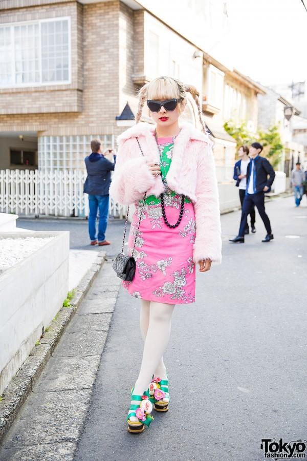 Harajuku Girl in Cropped Faux Fur Coat w/ Vivienne Westwood, Chanel, Irregular Choice