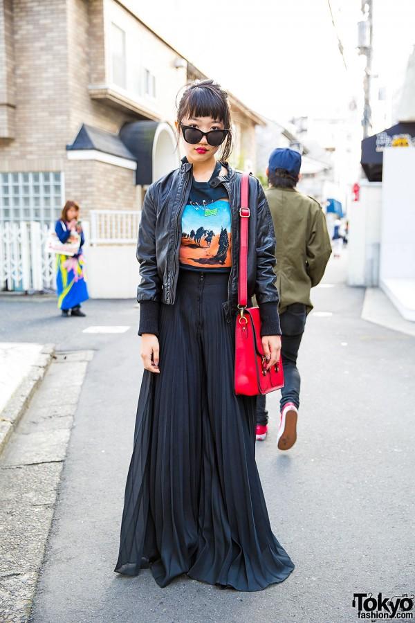 Harajuku Girl in Sleep Heavy Metal Tee, Leather Jacket & Sheer Wide Leg Pants