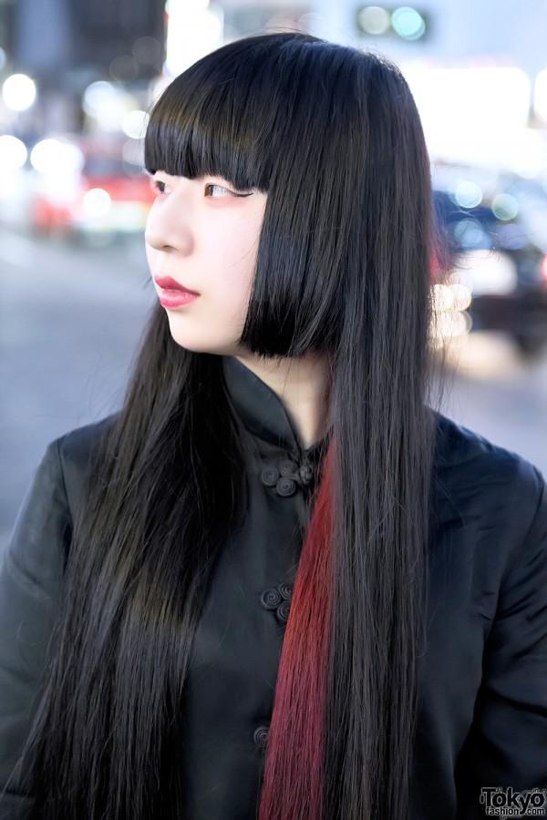 Black Japanese Bangs Hairstyle w/ Red Streak