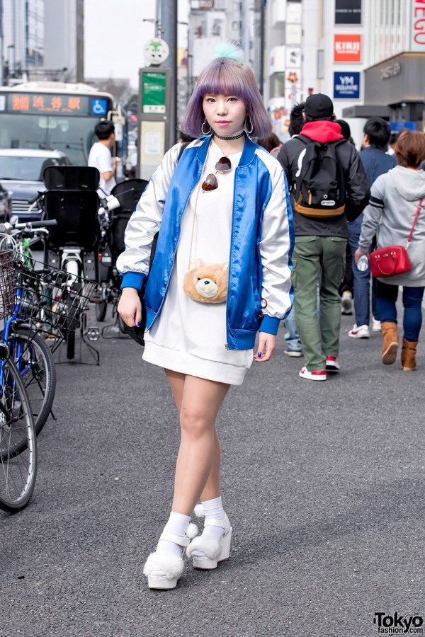 Pastel Bob Hairstyle, Sukajan, Sweatshirt Dress & Bear Pouch in Harajuku