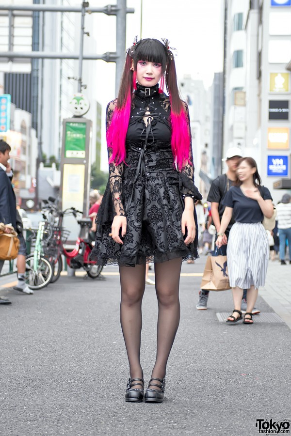 Pink Twintails, Gothic Harajuku Street Fashion & Heart Backpack