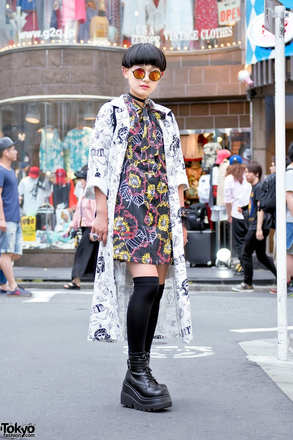 Harajuku Girl in Graphic Jacket & Graphic Dress