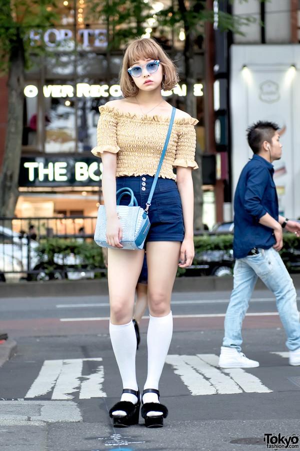 Off The Shoulder LilLilly Top, Platform Sandals & Vivienne Westwood Bag in Harajuku