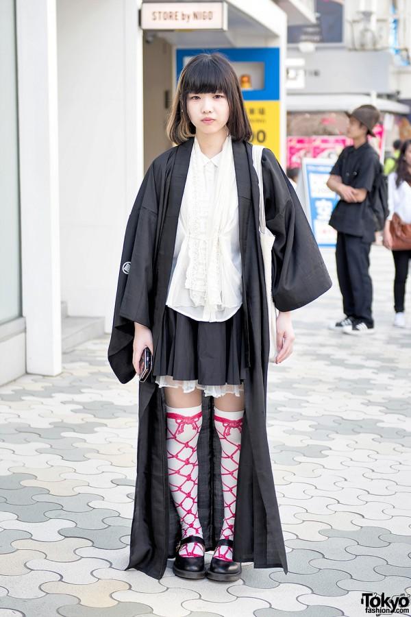 Harajuku Girl in Long Black Jacket, Knot Knee Socks & Sushi Tote Bag