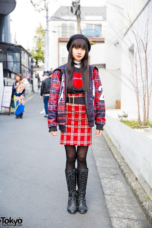 Plaid Harajuku Street Style w/ Sailor Collar, Heart Choker, WC Backpack & Boots