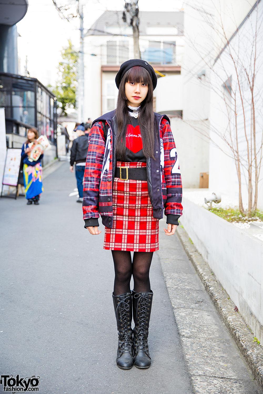 Plaid Harajuku Street Style W Sailor Colar Heart Choker