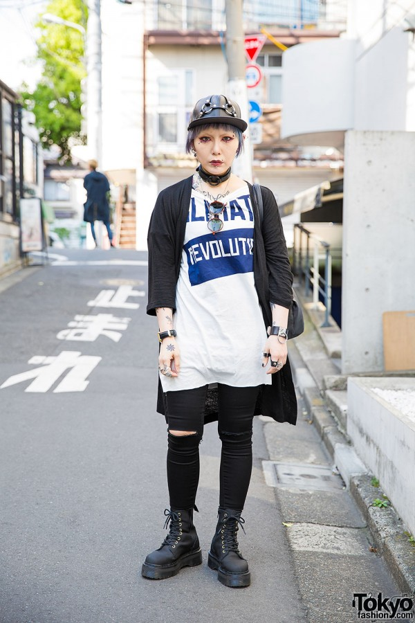 Blue-Haired Harajuku Girl w/ Piercings & Tattoos, Worlds End, Vivienne Westwood & Dr. Martens