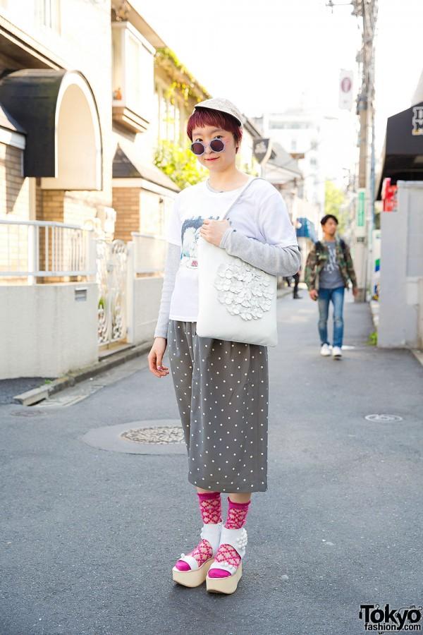 Harajuku Girl w/ Tokyo Bopper Bag & Platform Sandals, Pink House & MintDesigns