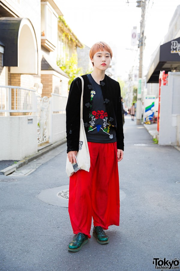 Harajuku Girl in Velvet Jacket, Akira Naka Embroidered Top & Camper Shoes
