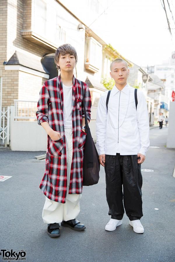 Harajuku Beauticians in Plaid Coat & Monochrome w/ Maison Margiela, Crydd, Acne & Adidas Superstar