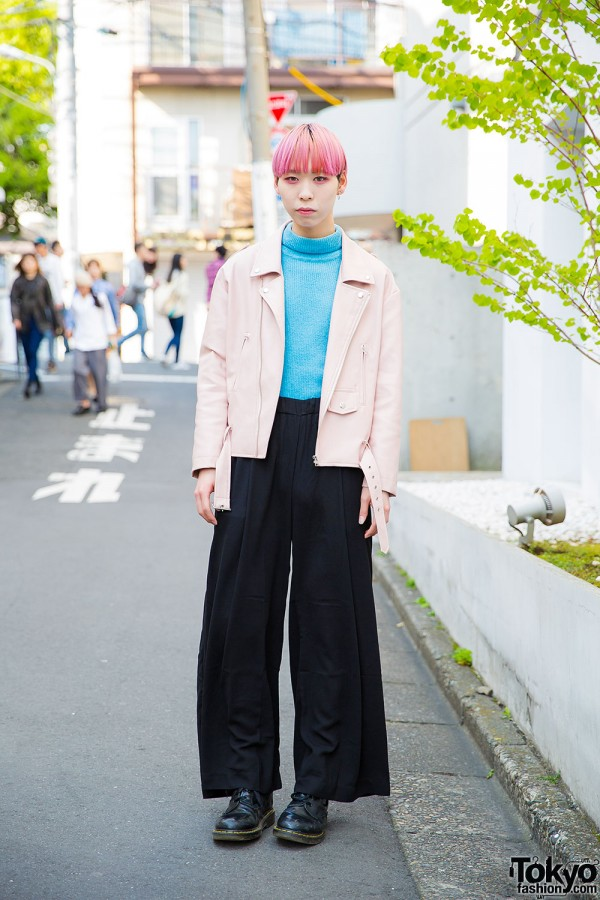 Taro in Harajuku w/ Pink Hair, Pink Makeup, Pink Leather Jacket & Dr. Martens