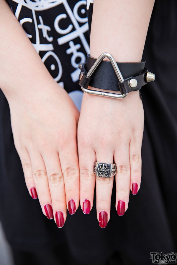 Bracelet & Ring With Red Nails
