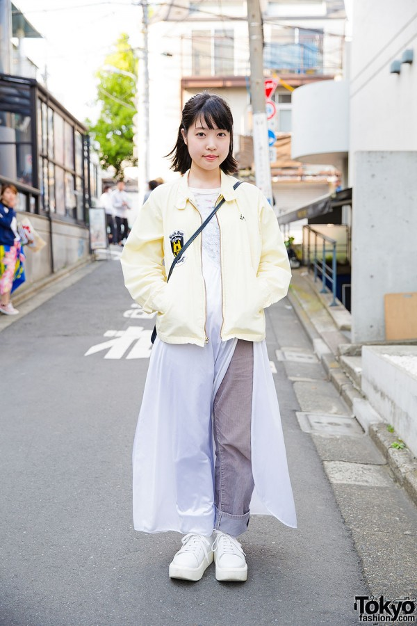 Harajuku Girl in Nightgown Over Pants, VolkswagenVintage Jacket & Tokyo Bopper Shoes