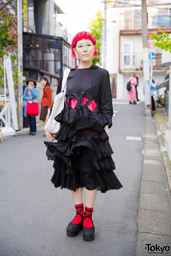 Harajuku Girl in Comme des Garcons, Sunao Kuwahara, Zucca & Tokyo Bopper