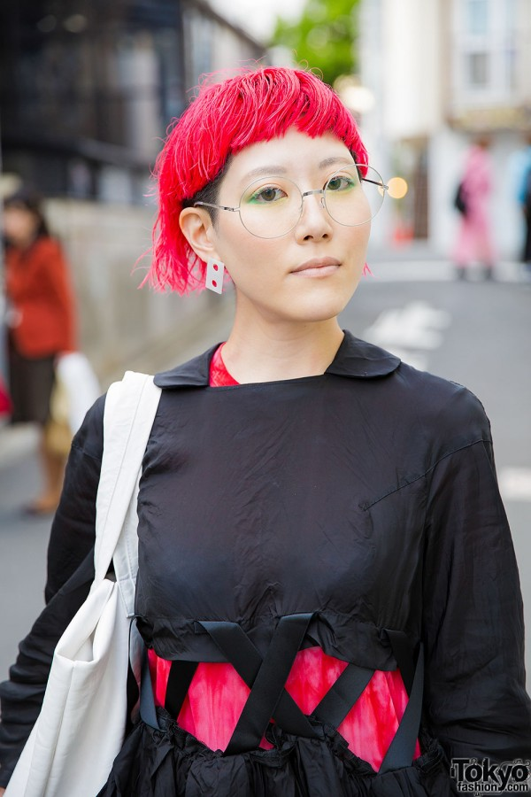 Red Hairstyle & Round Glasses