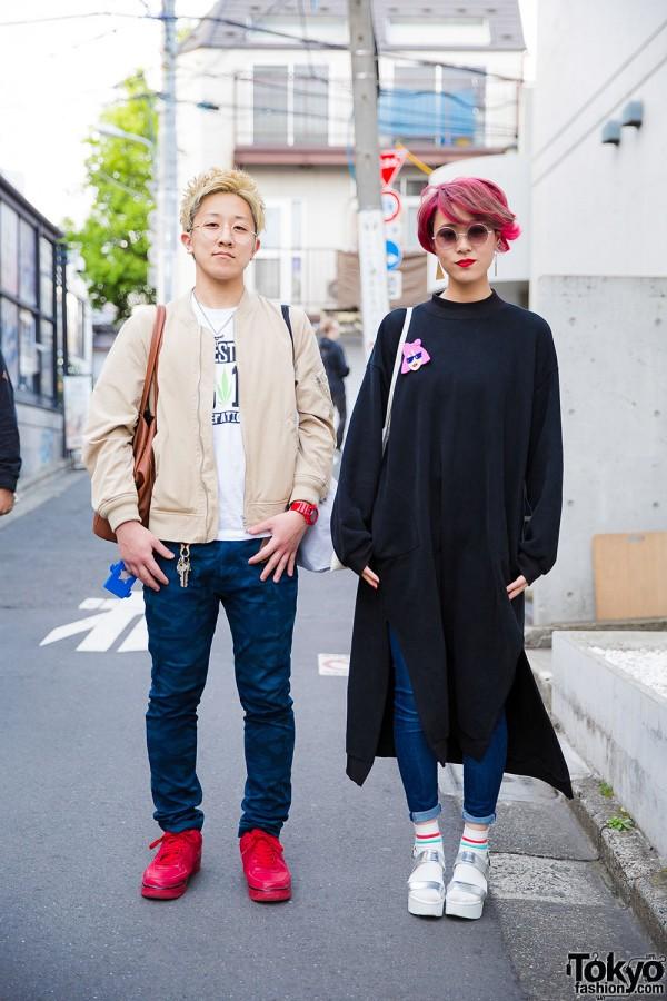 Harajuku Girl in Stylenanda, Bershka Jeans & Lowrys Farm Sandals vs. Harajuku Guy in Bomber Jacket & Nike Sneakers
