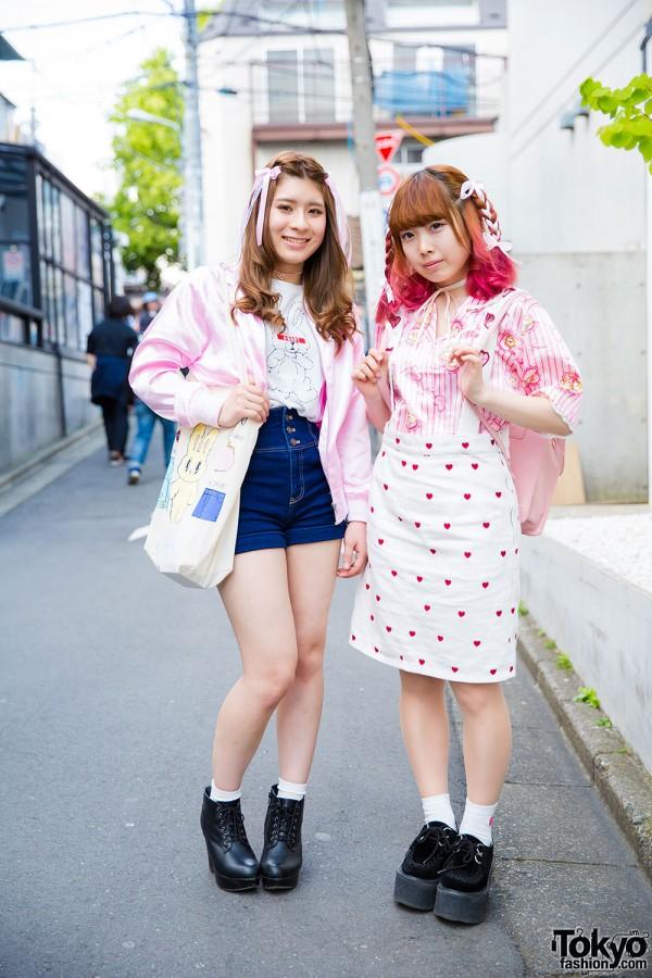Harajuku Girls in Pink w/ Dip Dye, Hair Ribbons, Candy Stripper, Liz Lisa, Nadia & WEGO