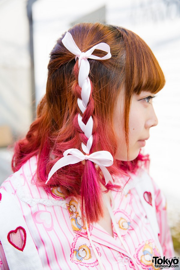 Braided Hairstyle With Pink Tips
